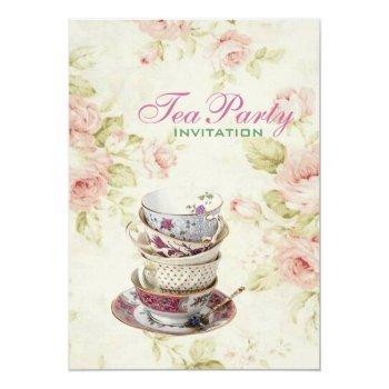 elegant pink  rose floral vintage bridal tea party invitation