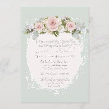elegant pink roses succulents bridal shower tea invitation
