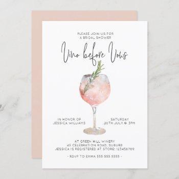 elegant pink vino before vows bridal shower invitation