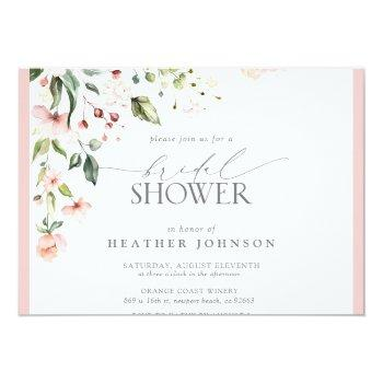 Elegant Pink Watercolor Floral Bridal Shower Invitation Front View