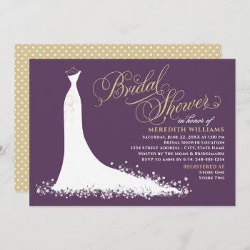 elegant plum and gold wedding gown bridal shower invitation