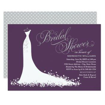 elegant plum silver wedding gown bridal shower invitation