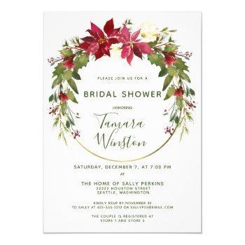 elegant poinsettia floral christmas bridal shower invitation