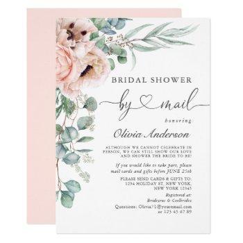 elegant poppy eucalyptus bridal shower by mail invitation