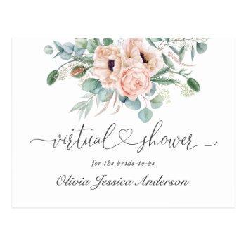 elegant poppy eucalyptus bridal virtual shower postcard