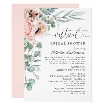 elegant poppy eucalyptus virtual bridal shower invitation