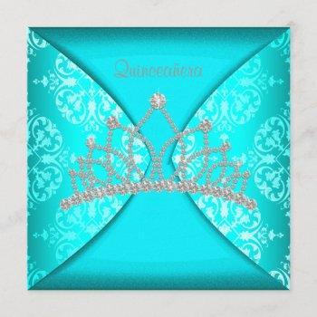 elegant princess tiara teal blue quinceanera invitation