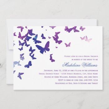 elegant purple and blue butterflies bridal shower invitation
