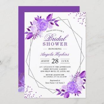 elegant purple floral silver frame bridal shower invitation