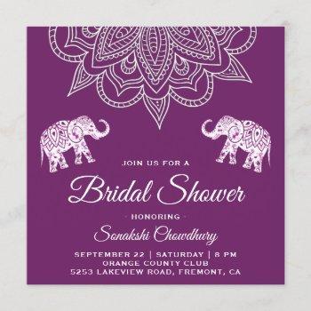 elegant purple mandala indian bridal shower invitation