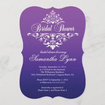 elegant purple ombre wbridal shower invitation