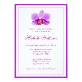 elegant purple orchid bridal shower invitation