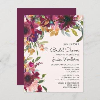 elegant purple pink gold floral  bridal shower invitation
