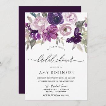 elegant purple watercolor floral bridal shower invitation