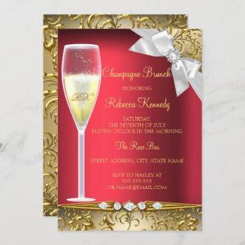 elegant red gold white champagne brunch invitation
