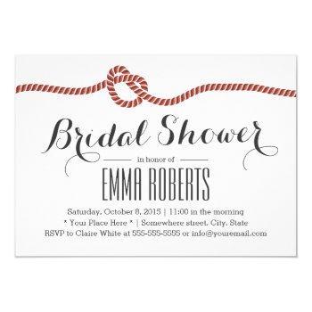 elegant red rope knot bridal shower invitation