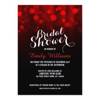 elegant red string lights bokeh bridal shower invitation