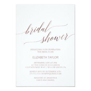 elegant rose gold calligraphy bridal shower invitation