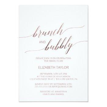 elegant rose gold calligraphy brunch & bubbly invitation