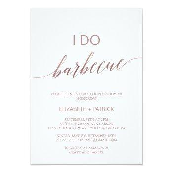 elegant rose gold calligraphy i do barbecue invitation