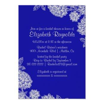 elegant royal blue bridal shower invitations