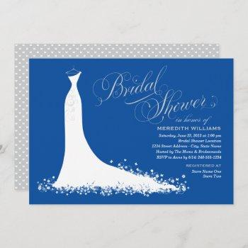 elegant royal blue wedding gown bridal shower invitation