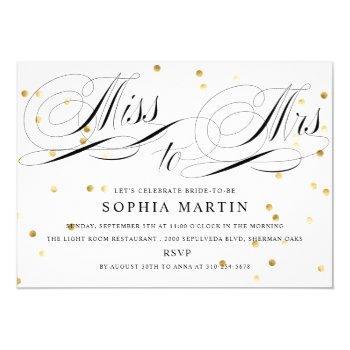 elegant script miss to mrs. confetti bridal shower invitation