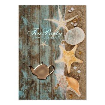 elegant seashells beach bridal shower tea party invitation