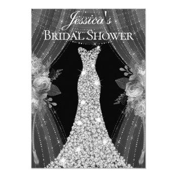 elegant silver curtains dress bridal shower invite