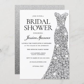 elegant silver sparkle dress bridal shower invite