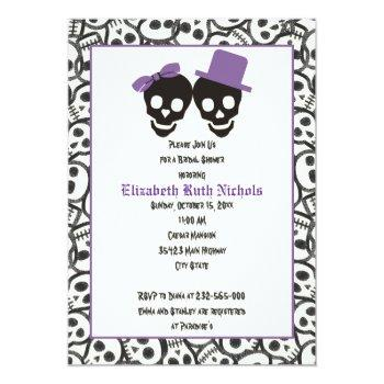 elegant skulls halloween wedding bridal shower invitation