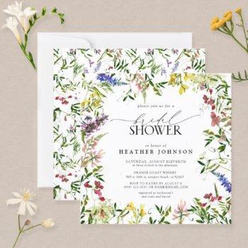 elegant summer wildflower floral bridal shower invitation