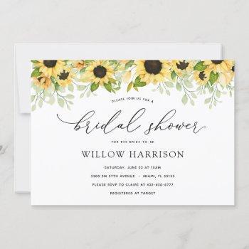 elegant sunflower bridal shower invitation