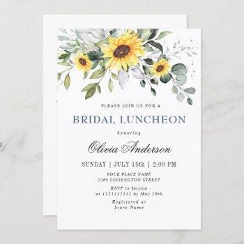elegant sunflowers eucalyptus bridal luncheon invitation
