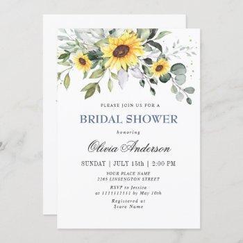 elegant sunflowers eucalyptus bridal shower invitation