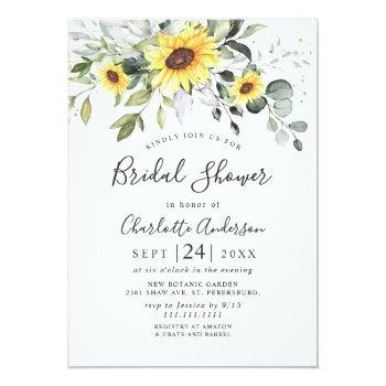 Elegant Sunflowers Eucalyptus Bridal Shower Invitation Front View