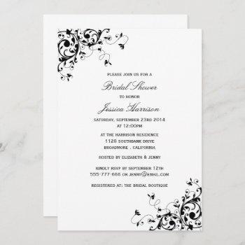 elegant swirls black & white bridal shower invitation