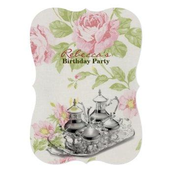 elegant  tea cup vintage floral birthday party invitation