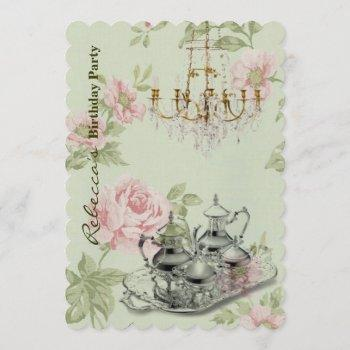elegant  tea cup vintage floral birthday party invitation