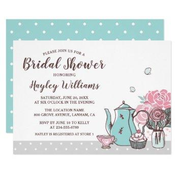 elegant tea party butterfly floral bridal shower invitation