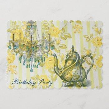 elegant tea pot  vintage floral birthday party invitation
