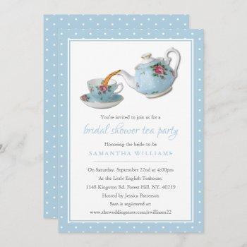 elegant teacups bridal shower tea party invitation