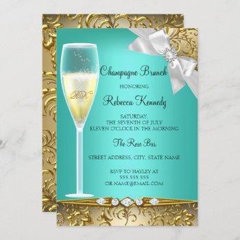 elegant teal gold white champagne brunch invite