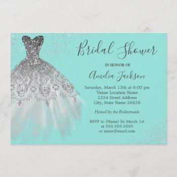 elegant teal wedding gown bridal shower invitation