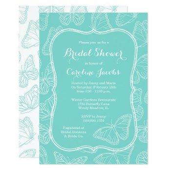 elegant tiffany blue butterfly bridal shower invitation