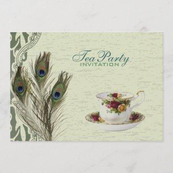 elegant vintage country green peacock tea party invitation