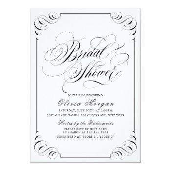 elegant vintage flourish calligraphy bridal shower invitation