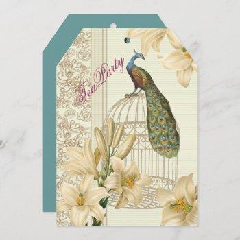 elegant vintage lily peacock bridal tea party invitation