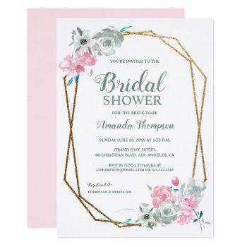 elegant watercolor flowers bridal shower invitation