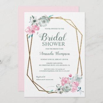 elegant watercolor flowers bridal shower invitation